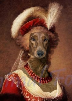 Dog Dachshund Queen MARIE ANTOINETTE digital art anthropomorphic altered puppy rococo fashion history portrait surreal fantasy fairy tale by AnimalFolk on Etsy https://www.etsy.com/listing/216319419/dog-dachshund-queen-marie-antoinette