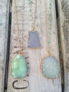 Druzy Necklaces with Chrysoprase Stone Accents by joydravecky, $78.00