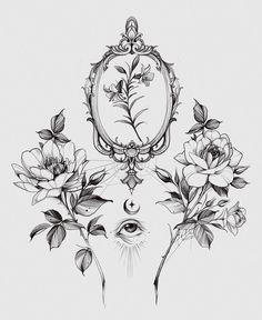 Mini Tattoos, Flower Tattoos, Body Art Tattoos, Small Tattoos, Tattoo Design Drawings, Tattoo Sketches, Tattoo Designs, Flower Outline, Flower Sleeve