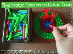 Toy target from Dollar tree that I turned into a fine motor task using straws. This activity targets and develops the 3 finger grasp, this is also great for building on hand – eye coordination skills.