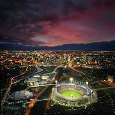 The MCG in Melbourne. What a lovely sight at night! Melbourne Victoria, Victoria Australia, Melbourne Australia, Australia Travel, Melbourne Tourism, Largest Countries, France, Best Cities, Places To Visit