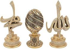 Islamic Gift Table Decor 3 Piece Set Gold Sculptures Arabic Allah Muhammad Ayatul Kursi or ESMA al Husna (Gold with Ayatul Kursi). 3 Piece Golden Set: 'Allah' and 'Muhammad' in Arabic calligraphy, plus Ayatul Kursi or Esma Egg. Islamic Decor, Islamic Gifts, Islamic Art, Arabic Decor, Ramadan Decorations, Table Decorations, Wedding Decorations, Ayatul Kursi, Allah Wallpaper