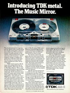 TDK Metal. The Music Mirror. [1981] #vintageads #Ads #vintage #PrintAd #tvads #advertising #BrandScience #influence #online #Facebook #submissions #marketing #advertising