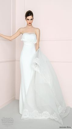 antonio riva 2016 bridal dresses chic strapless semi sweetheart neckline sheath wedding dress romilda