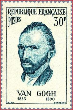 Vincent van Gogh, Self Portrait stamp issued by France, ca.1950