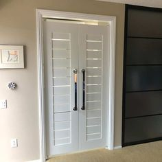 Modern Contemporary Double Swinging Slat Interior Doors