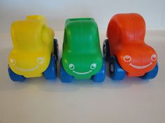 Vintage Rare Little Tikes 3 Lot of Cars & Trucks Red Green Rolling Toys Smiling #LittleTikes