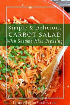 This Asian-inspired carrot salad is a quick and easy side dish. It has a sesame miso dressing and is topped with sunflower seeds, raisins and green onions. The flavour improves over time, making it an ideal dish for picnics, potlucks and barbecues. Vegan Kitchen, Kitchen Recipes, Cooking Recipes, Healthy Gluten Free Recipes, Vegan Recipes, Salad Recipes, Salads Up, Miso Dressing, Salad Dressing