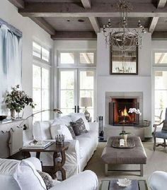 ♛   I would love to see a splash of color in this otherwise beautiful room. #Home #Design #Decor  ༺༺  ❤ ℭƘ ༻༻