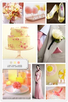 Very cute! I am a shameless lover of all things pink and pretty and this color scheme certainly falls under both categories. It's a color palette of light khaki, lemon, and pink lemonade from the site 'The Inspired Bride' and here is their website if you're interested: [http://www.inspiredbride.net]