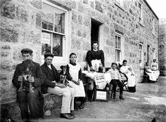 Mrs Bennetts Refreshment House, Lamorna, St Buryan, Cornwall. Mrs Bennett selling tea and coffee from her refreshment house at Lamorna. She is seen here with her family.July 1901