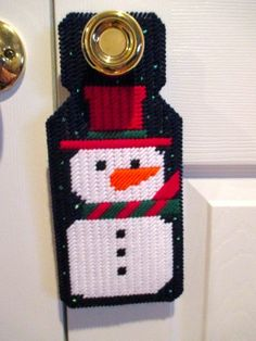 Winter Snowman Door Hanger Handcrafted in Plastic by craftpatch