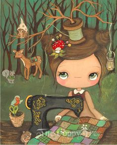Seamstress Print Animal Critter Forest Girl by thepoppytree