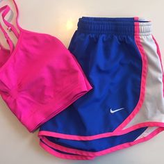 Nike | Blue/Pink Neon Dri-Fit Shorts | Size: M Nike | Bright Blue/Neon Pink Dri-Fit Shorts | Size: M | Great Condition | True to Size | No Wear or Damage | Pet/Smoke Free Home | 100% Polyester Nike Shorts