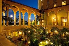View of Biltmore Hotel Miami Outside Loggia at Dusk | south florida outdoor wedding venue