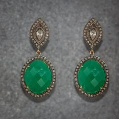 Silver Earrings with Green Chalcedony and rose cut diamonds