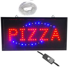 """Bright Pizza Pie Shop Open Store Animated LED Sign 19x10"""" Light neon Display Pep #Zh"""