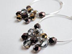 Crystal hoop earrings with drops  silver by handmadeintoronto, $14.00