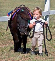 Cute little pony led by a child with a pacifier. That is just too sweet!