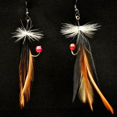 Feather Fishing Lure Earrings, Black and Tan, $15.00