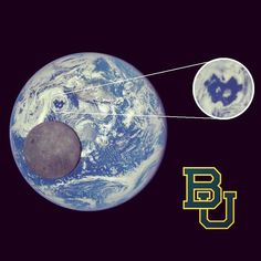 #NASA cameras captured this image of #Earth from a million miles away -- complete with an interlocking BU!!! #SicEm #Baylor #baylorbears