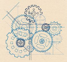 Blueprint Cogs   Urban Threads: Unique and Awesome Embroidery Designs