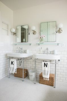 Traditional Full Bathroom with Console sink, Daltile Retro Rounds Bold White Matte Mosaic TIle, penny tile floors