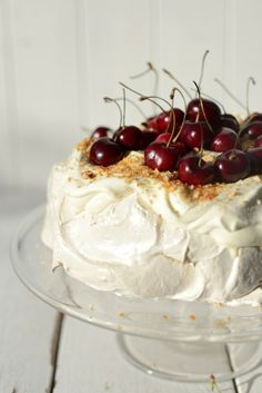 Brown Sugar Pavlova with Cherries