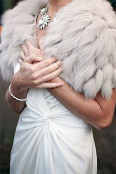 glam faux rabbit fur wedding cover up - brides of adelaide