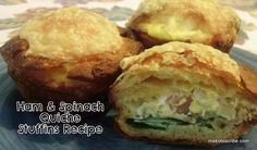 Ham and Spinach Quiche Stuffins Recipe - I love how you combine muffins with quiche to get this tasty recipe