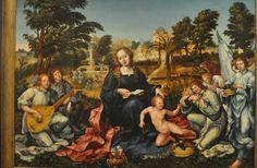 Gregorio Lopes (c. 1490-1550), Vierge à l'Enfant avec anges musiciens, Lisbonne, 1536-1539, Musee National d'Art Ancien
