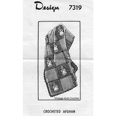 Vintage Crochet Afghan Pattern in checkerboards with doll applique in every other block  l  Mail Order Design 7319
