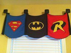 Busy Dad E: Fatherhood Uncensored - Superhero bedroom ideas Batman Room, Superhero Room, Superhero Bathroom, Superhero Capes, Superhero Ideas, Superhero Classroom, Rm 1, Boy Art, Child Room