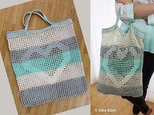 Einkaufsnetz Tasche Beutel mit Herz in Mint, Grau und Natur - Häkelanleitung Crochet Saco, Free Crochet, Crochet Top, Knitted Bags, Drawstring Backpack, Crochet Projects, Crochet Patterns, Make It Yourself, Stitch