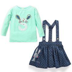 Cute-Rabbit-Print-Baby-Kids-Girl-Toddler-Denim-Overalls-Jumper-Dress-Jeans-Skirt