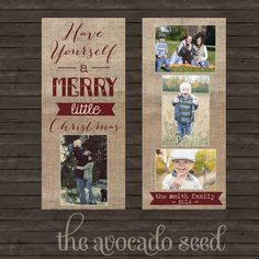 Rustic Burlap Christmas Holiday Picture Cards - DIY Printing or Professional Prints