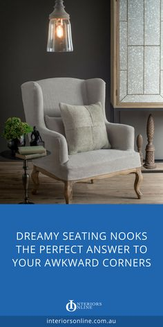 Style your perfect dreamy seating nook. Breakfast nook ideas and reading nook styling tips. Combine the right occassional chair or comfy sofa with a sidetable for you ideal seating nook or cozy reading nook in your living room. #seatingnook #readingnook #livingroom #livingroomstyling #interiordesign #interiordesignideas #interiordesigninspiration #interiorsonline #furnituretrends #homedecor #chair #occasionalchair #armchair