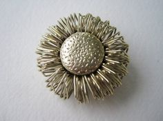 Vintage 60s Retro Abrstract Gold Sunflower Brooch by ThePaisleyUnicorn, $3.00