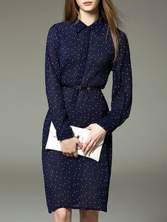 H-line V Neck Casual Long Sleeve Polka Dots Midi Dress