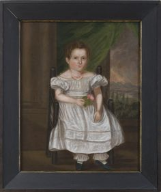 'Young girl in white dress and coral beaded necklace' by unknown artist, American (?), ca 1820'-30s.  Northeast Auctions