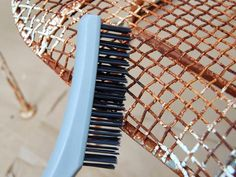 How to Paint Metal Chairs: Use a stiff wire brush to vigorously brush the rusted and peeling areas. If there is a concern that lead-based paint was used, wear a mask or respirator. From DIYnetwork.com