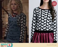 Carrie's heart print sweater on The Carrie Diaries. Outfit Details: http://wornontv.net/24389 #TheCarrieDiaries #fashion