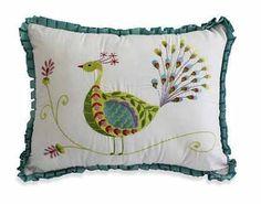 Oblong Peacock Pillow $49.99 www.allthingspeacock.com