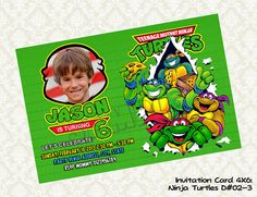 Teenage Mutant Ninja Turtles Birthday Photo Invitations