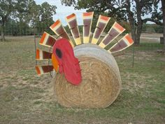 Cute way to decorate a hay bale.