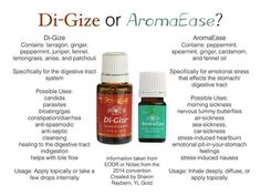 Young Living Di-Gize and AromaEase for stomach issues. Young Essential Oils, Ginger Essential Oil, Patchouli Essential Oil, Essential Oil Uses, Henna Designs, Young Living Release, Fennel Oil, Oils For Life, Healing Oils