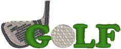 Machine Embroidery Design: Golf Club & Ball