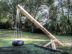 Tyre Swing (Kingstone children's wooden outdoor play area with multi-play tower)