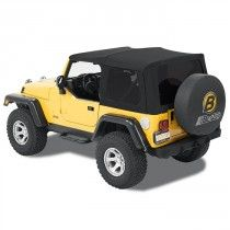 1997-2006 Jeep Wrangler Bestop Supertop Soft Top Rear Tinted Window Khaki Used