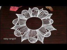 Simple Rangoli Designs Images, Rangoli Border Designs, Rangoli Designs With Dots, Beautiful Rangoli Designs, Indian Rangoli, Easy Rangoli, Chudithar Neck Designs, Padi Kolam, Rangoli Borders